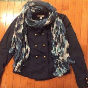LOFT Women's military jacket Navy Blue sz 4 Scarf